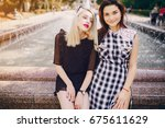 models walk the city | Shutterstock . vector #675611629