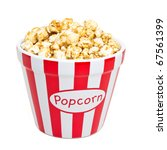 red and white bowl of popcorn... | Shutterstock . vector #67561399