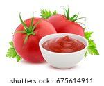 ketchup in bowl and two fresh... | Shutterstock . vector #675614911