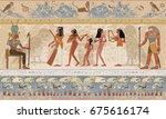 ancient egypt. egyptian gods... | Shutterstock .eps vector #675616174