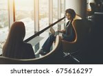 business meeting two woman ... | Shutterstock . vector #675616297