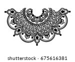 neck print in vector  lace neck ... | Shutterstock .eps vector #675616381