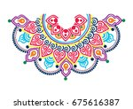 neck print in vector  lace neck ... | Shutterstock .eps vector #675616387