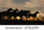 Stock photo horses in sunset 67562290