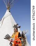 a native american in ceremonial ... | Shutterstock . vector #67562749