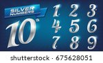 set of metal numbers. vector... | Shutterstock .eps vector #675628051