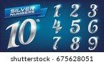 set of metal numbers. vector... | Shutterstock .eps vector #675628051