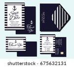 set of nautical wedding... | Shutterstock .eps vector #675632131