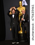 Small photo of LOS ANGELES, CA - FEBRUARY 26, 2017: Alan Barillaro & Marc Sandheimer in the photo room at the 89th Annual Academy Awards at Dolby Theatre, Los Angeles
