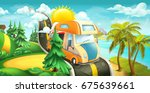 road to clouds  sea and forest. ... | Shutterstock .eps vector #675639661