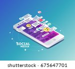 isometric concept with mobile... | Shutterstock .eps vector #675647701