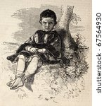 old engraved juvenile portrait... | Shutterstock . vector #67564930