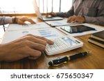 business man analysis data... | Shutterstock . vector #675650347