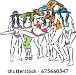 group of women having fun in... | Shutterstock .eps vector #675660547