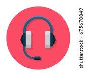 headphones flat icon. headset... | Shutterstock .eps vector #675670849