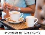 hot cup of coffee and tea in... | Shutterstock . vector #675676741