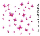 beautiful pink butterflies... | Shutterstock .eps vector #675684304