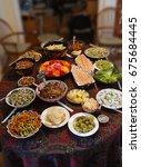 turkish meze appetizers and... | Shutterstock . vector #675684445