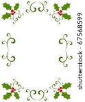 Christmas vintage frame made of holly berry. Vector illustration - stock vector