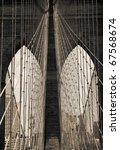 view from brooklyn bridge in new york - stock photo