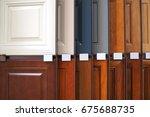 wood cabinet door samples in... | Shutterstock . vector #675688735