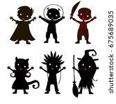 set of children silhouette in... | Shutterstock .eps vector #675689035