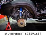 race car disc brake and blue... | Shutterstock . vector #675691657
