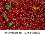 currant red. berries background.... | Shutterstock . vector #675698509