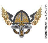 viking winged helmet with... | Shutterstock .eps vector #675698644