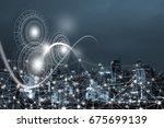 internet network  abstract... | Shutterstock . vector #675699139