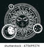 Vintage Hand Drawn Sun  Moon ...