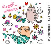 sweet dreams. unicorn cat. pug... | Shutterstock .eps vector #675703597