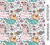 sweet dreams. unicorn cat. pug... | Shutterstock .eps vector #675703729