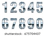 vector metal numbers.set of... | Shutterstock .eps vector #675704437