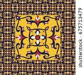 retro tiles floor. flowers... | Shutterstock .eps vector #675713479