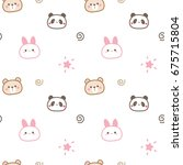 Seamless Pattern Of Cute...