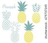 set of different pineapples.... | Shutterstock .eps vector #675737245
