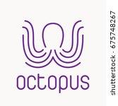 octopus emblem  logo in line... | Shutterstock .eps vector #675748267