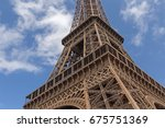 close up o eiffel tower against ... | Shutterstock . vector #675751369