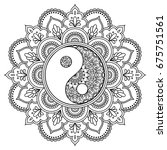 vector henna tatoo mandala. yin ... | Shutterstock .eps vector #675751561
