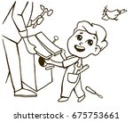 father and son make a birdhouse.... | Shutterstock .eps vector #675753661