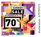 summer sale geometric style web ... | Shutterstock .eps vector #675759271