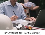 architect or engineer meeting... | Shutterstock . vector #675768484