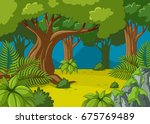 forest scene with big trees... | Shutterstock .eps vector #675769489