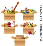 boxes full of toys illustration | Shutterstock .eps vector #675769567