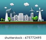 white illustration of city... | Shutterstock .eps vector #675772495