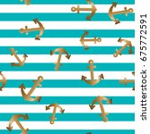 golden anchor on blue and white ...   Shutterstock .eps vector #675772591