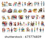 set of happy family  people ... | Shutterstock .eps vector #675776839