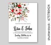 anemone wedding invitation card ... | Shutterstock .eps vector #675780424