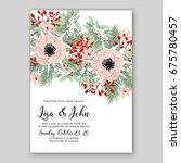cream ranunculus wedding... | Shutterstock .eps vector #675780457
